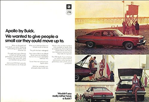 1974 BUICK APOLLO 2-Door HATCHBACK COUPE LARGE VINTAGE COLOR AD - DOUBLE PAGE - USA - EXCELLENT ORIGINAL ()