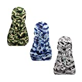 3pcs Packed Miltary Camouflage Colorful Premium 360 Waves Long Tail Silky Durag Cap for Men Du-rag (Set1)