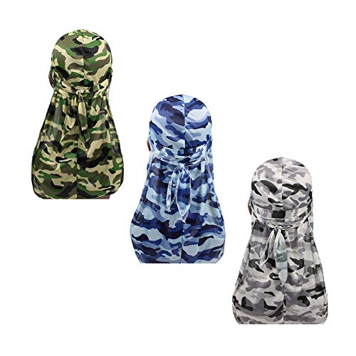 3pcs Packed Miltary Camouflage Colorful Premium 360 Waves Long Tail Silky Durag Cap for Men Du-rag (Set1) (Best Du Rags For Waves)
