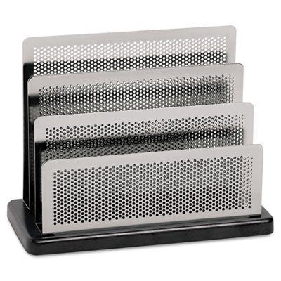 Mini Sorter, Three Stepped Sections, 7 1/2 x 3 1/2 x 5 3/4, Metal/Black (Distinctions Desk Organizer Metal)