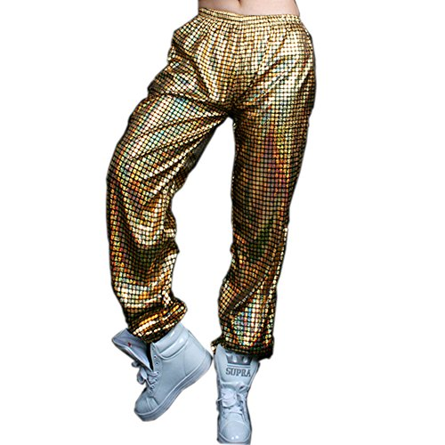 Anlydia Night Club Metallic Hologram Shiny Pants Party Trousers, Gold XL