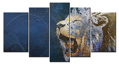 (SmartWallArt - Animal Series Home Decor Artwork a Roaring Lion's Head Close-up Wall Art 5 Piece Paintngs Print on Canvas Framed for Living Room)