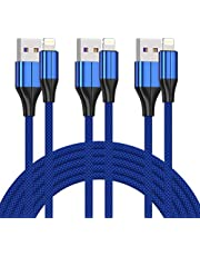 iPhone Charger Cable [MFi Certified] ,(3 Pack 10 Foot) Nylon Braided Lightning Cable, iPhone Charging Cord USB Cable Compatible with iPhone 11/Pro/X/Xs Max/XR/8 Plus /7 Plus/6/ iPad (Blue)