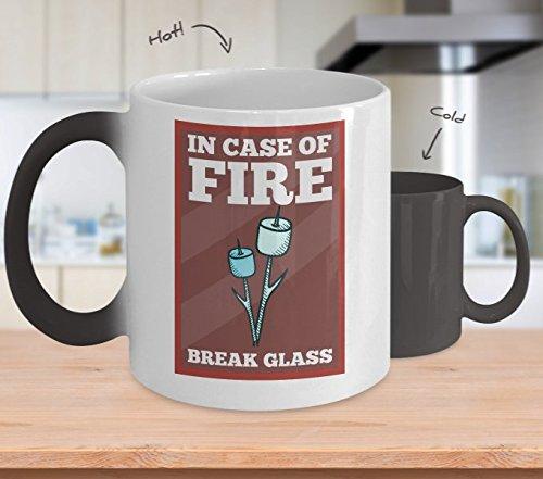 In Case Of Fire Break Glass (Marshmallow Sticks Inside) Color Changing Mug