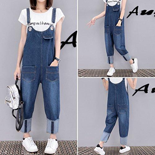 Wenchuang Playsuit Denim Casuale Dungarees Blu Tuta Harem Larghi Donna Leg Pantaloni Wide Jeans rvO1zwrx