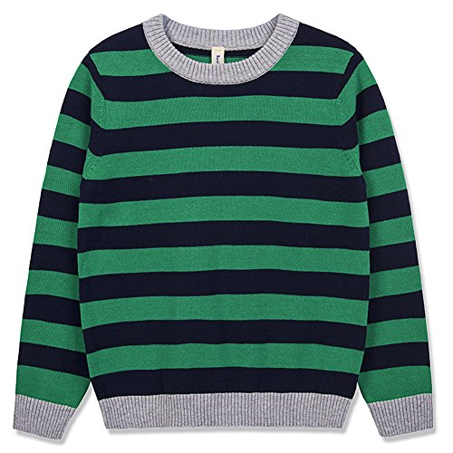 Benito & Benita Boy's Pullover Sweater Crew Neck Cotton Sweater Casual Style with Stripes for Boys/Girls Green 3-12Y (Cotton Green Stripe Sweater)