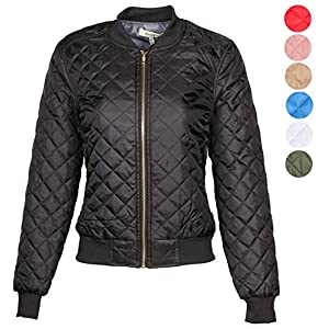 9 Crowns AG Womens Quilted Bomber Jacket Essentials