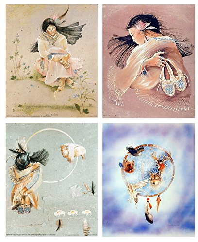 (Impact Posters Gallery Native American Wall Decor Indian Prayer Moon Passing White Buffalo Picture 16x20 Four Set Art Print Poster)