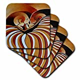 3dRose Touched By Africa African themed art of a man and woman kissing and in love - Soft Coasters, set of 4 (cst_128358_1)