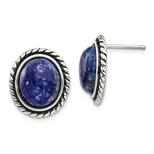 925 Sterling Silver/Lapis Cabochon Post Stud Earrings Ball Button Fine Jewelry Gifts For Women For Her