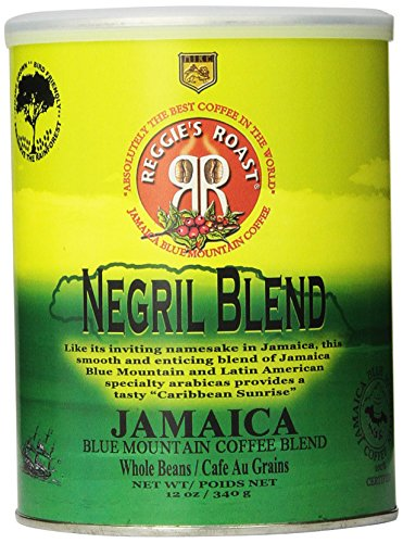 Reggie's Roast Jamaica Blue Mountain Negril Blend Whole Bean Coffee, 12-Ounce Cans (Pack of 3)