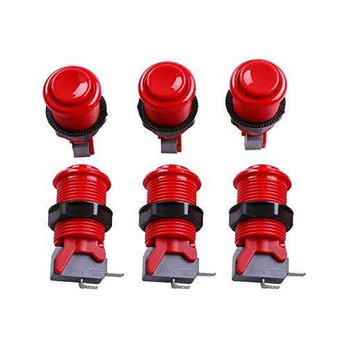 Easyget 6 Pcs/Set HAPP Type Standard Arcade Push Button with Microswitch for Mame / Jamma / Arcade Video Games - 30MM Arcade Buttons (Red) ()