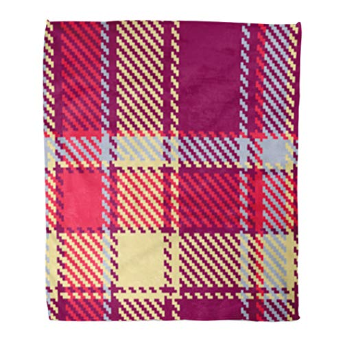Golee Throw Blanket Tartan Checkered Red Blue Yellow Violet Pattern Plaid Scottish Abstract 60x80 Inches Warm Fuzzy Soft Blanket for Bed - Yellow Blue Violet