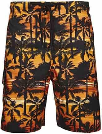 fea23e6b51f96 Laguna Mens Tropical Palm Tree Stripe Boardshort Swim Trunks Bathing Suit,  UPF 50+