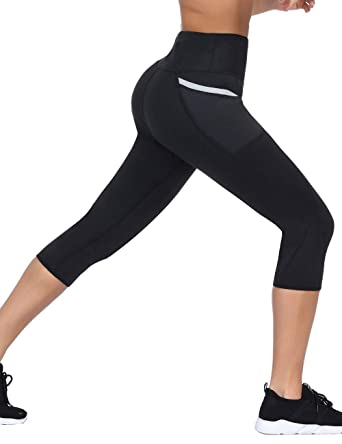 bef74f2b8b528a Slimming Hot Sweat Pants Workout Leggings with Pocket Sauna Pants for Sport  Black S