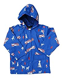 FoxFire Kid\'s Fire Trucks Raincoat, Blue, 10 US