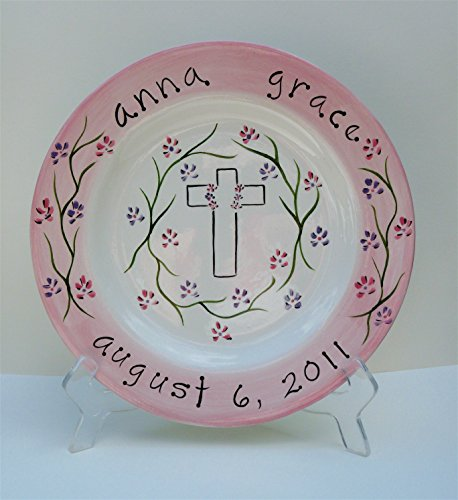 personalized hand painted ceramic plate with flowers celebrating baptism, first communion, christening and births - Girl Personalized Hand Painted Plate