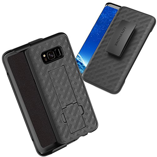 Samsung Galaxy S8 Plus Holster Case, LOVPHONE Secure Holster Shell & Kickstand Combo 180° Degree Rotating Locking Swivel + Shockproof Protection Case (Black) - Kickstand Combo