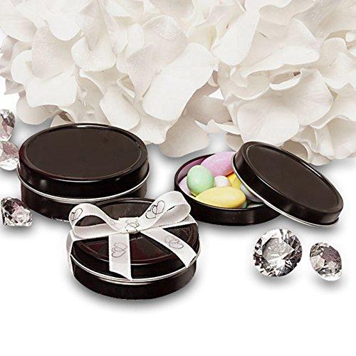 24ea - 8 Oz Black Shallow Round Tin Can-Pkg