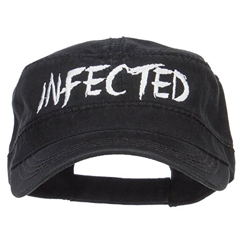 - e4Hats.com Infected Embroidered Garment Washed Army Cap - Black OSFM