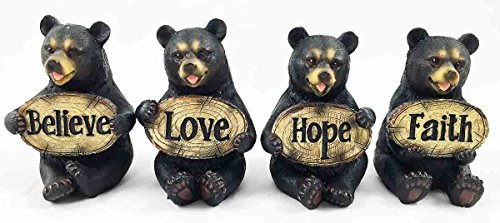 Set of Four Bears Whimsical Cute Black Bear Holding Love Believe Faith and Hope Sign Plaque Small Figurines Western Decor Rustic Nature Lovers Gift (Bear Home Decor)