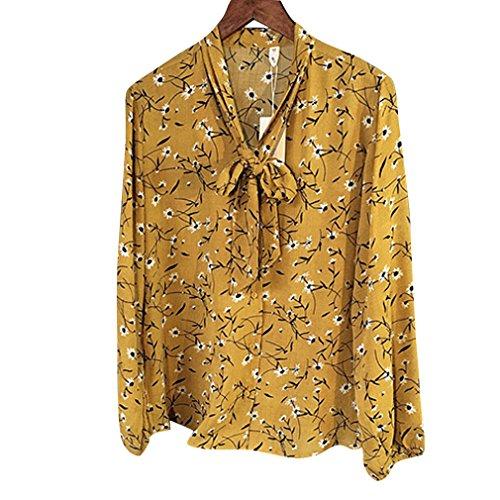 Honghu Camisa de flores Blusa Mujer Amarillo
