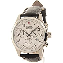 Wenger Swiss Military Field Dark Brown Leather Chronograph Date Men's Watch 79013