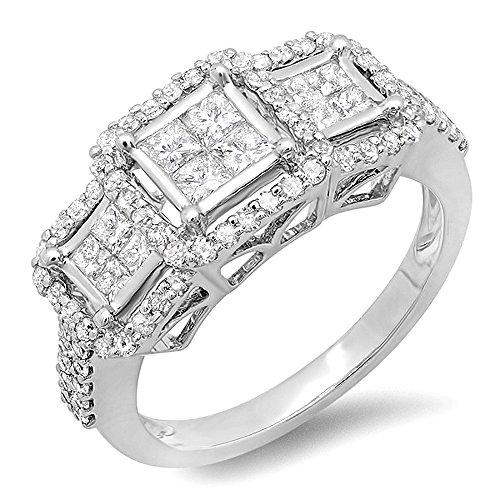 1.25 Ct Past Present - Dazzlingrock Collection 1.25 Carat (ctw) 14k Round & Princess Cut Diamond 3 stone Ladies Engagement Bridal Ring 1 1/4 CT, White Gold, Size 7
