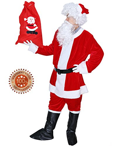 Plush Santa Claus Suit Adult Costumes (KART Men's Deluxe Santa Suit 9pcs Christmas Adult Santa Claus Costume Holiday Outfit Santa Cosplay (Large))