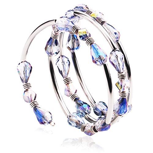 (Lateefah Bead Crystal Wrap Bangle Bracelets - Fashion Strand Bracelet with Swarovski Crystals, Handmade Jewelry for Women Girls, Birthday, Mother's Day, Best Gifts)