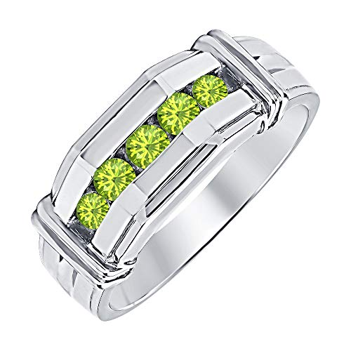 - tusakha Five Stone Round Cut Peridot 14K White Gold Plated 925 Sterling Silver Engagement Ring for Men's