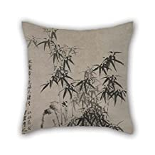 Pillow Shams 18 X 18 Inches / 45 By 45 Cm(twice Sides) Nice Choice For Bar Seat Lounge Son Car Teens Girls Kids Boys Oil Painting Zheng Xie - Bamboo And Rocks