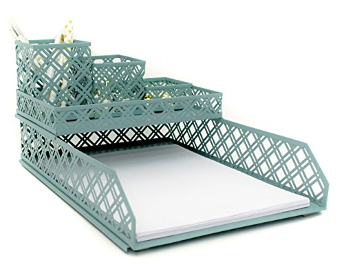 Blu Monaco Teal Blue Desk Organizer for Women - 5 Piece Interlocking Desk Accessories Set - Paper - Document Tray, Pen Cup, 3 Assorted Accessory Trays - Teal - Location Spot A Female