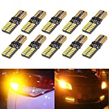 KaTur 800 Lumens T10 W5W 2825 168 LED CanBus Error Free 4014 24 SMD 5W Car Front Side Marker Door Courtesy License Plate LED Light Bulbs Amber 10-Pack