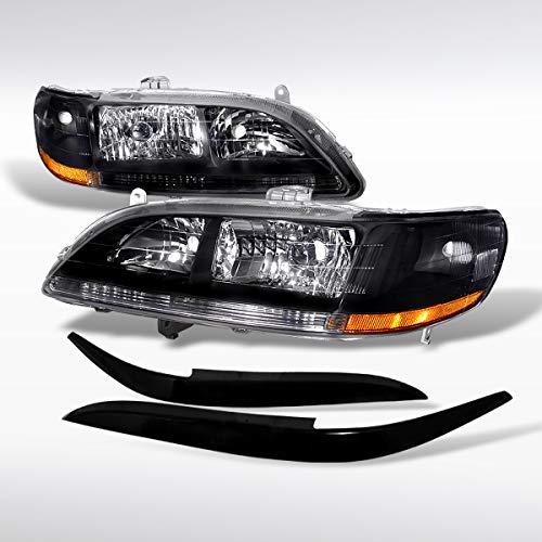 Autozensation For Honda Accord 2/4DR Black Crystal Headlights+ABS Eyelids