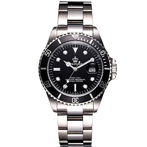 Men's Luxury Business Watch Rotatable Bezel Sapphire Glass Stainless Steel Quartz Wrist Watch Date Calendar (Black)