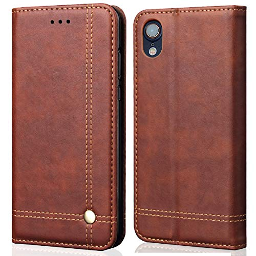 iPhone XR Case,iPhone XR Wallet Case,FLYEE Ultra Thin Slim Folio Cover PU Leather Magnetic Protective Cover with Credit Card Slots, Cash Pocket,Stand Holder for iPhone XR 6.1 inch Brown
