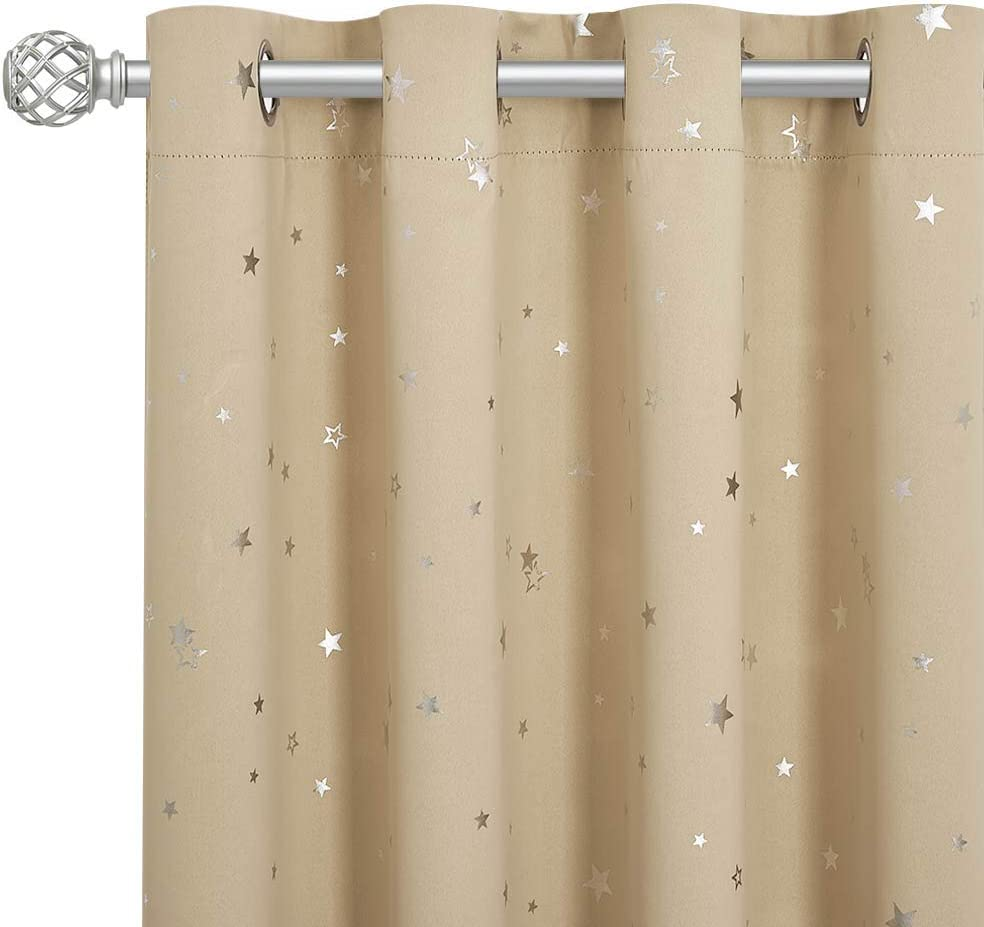 RYB HOME Blackout Curtains for Kids - Foil Star Window Treatment Panels Thermal Insulated Energy Saving Drapes for Bedroom Nursery Birthday Gift, 52 inch Wide x 63 inch Long, Biscotti Beige, 2 Pcs