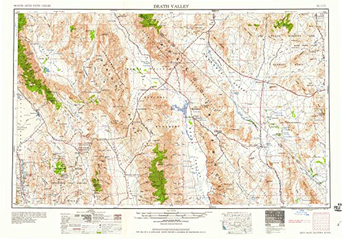 YellowMaps Death Valley CA topo map, 1:250000 Scale, 1 X 2 Degree, Historical, 1958, Updated 1958, 21.9 x 31.4 in - ()
