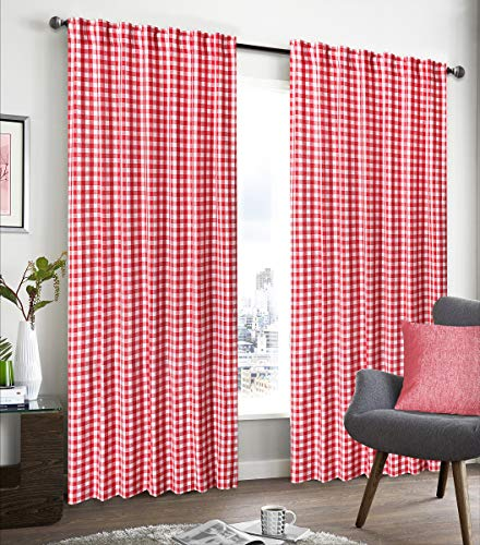 (Farm House Curtain in Buffalo check Plaid cotton fabric 50x84 -Red/White, Cotton Curtains,2 Panels Curtain, Tab Top curtains,Curtains Set of 2, Gingham Check Curtain, Gingham check curtain)