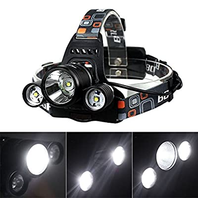 BestFire® Waterproof Super Bright 3 x Cree XM-L T6 4 Modes 5000 Lumens Headlamp Rechargeable with Adjustable Base Cree LED Headlight Headlamp Bicycle Light for Running Cycling Travelling Camping Hiking Fishing etc. (Headlamp Only)