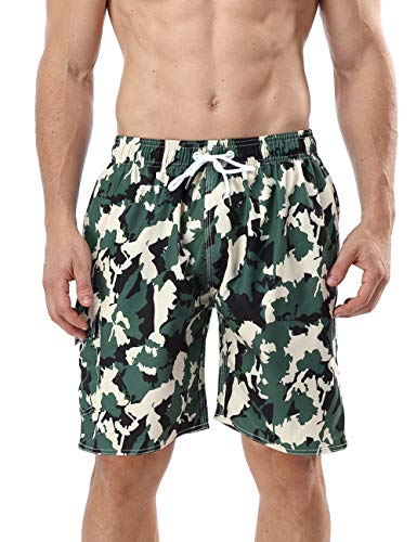 QRANSS Men's Quick Dry Swim Trunks Bathing Suit Striped Shorts with Pockets (X-Large / 42-44 Inches, Camouflage)