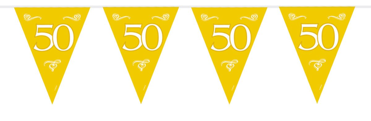1 Wimpelkette Girlande Zahl 50 Geburtstag 6m Goldene Hochzeit Folat wz-US5400
