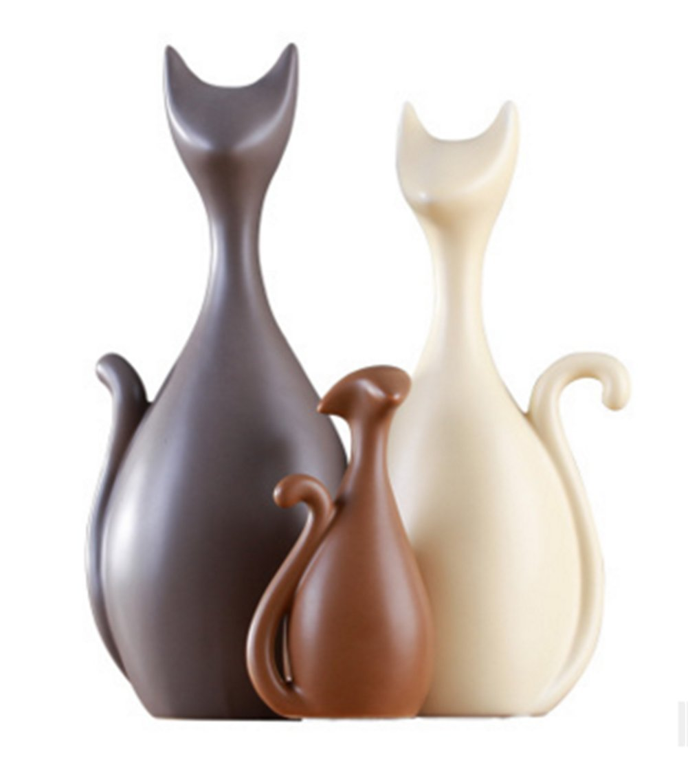 Animal Ornament Porcelain Decoration Deer Artificial Flower Lavender ceramic crafts Art creative furnishings Ornaments Gift family Matts Three four people home deer by small fish (Color glaze - Cat Family of three)