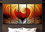 SWAGGER ART 5 Piece Metallic  ''Burning Love'' Art, Hand Painted And Designed