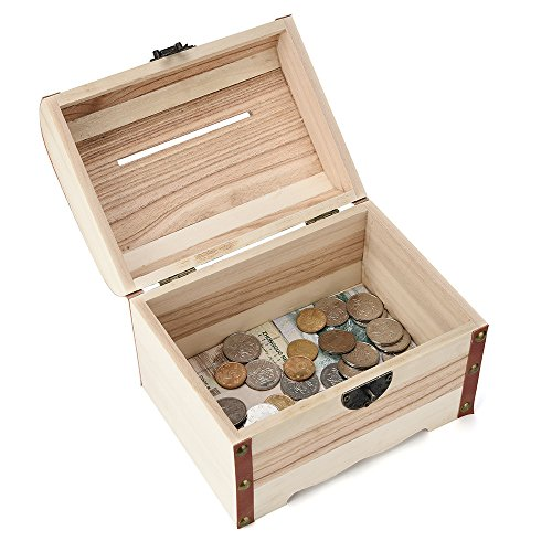 Fan-Ling Wooden Piggy Bank,Safe Money Box Savings with Lock,Wood Carving Handmade,Cash Safe Case,Unique Gifts for Kids Boys Girls and Adults, 14.2x9.8x9.8cm(A) (Trays Unique Tv)