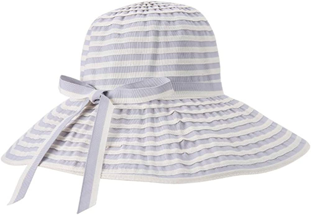Women Sun Hats Outdoor Canvas Foldable Floppy Bowknot Breathable Wide Brim Caps for Beach Travel Holiday