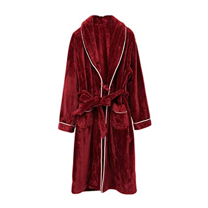 e10607bc25 Image Unavailable. Image not available for. Color  Sleep Sets Pajamas Winter  Men s Long Sleeve Thick Flannel Robe Solid Color Lapel with Coral Fleece