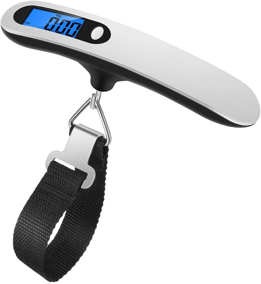 Newdora Báscula Digital para Equipaje Escala del Equipaje Pesa Maletas Viaje Báscula Digital LCD Portátil Bascula para Maletas de Viaje 110 lb/50 kg para Hogar y Viajes