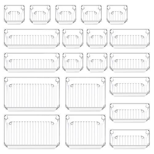 20 PCS Desk Drawer Organizer Trays, New 5-Size Bathroom Drawer Tray Versatile Clear Makeup Storage Organizers Kitchen…
